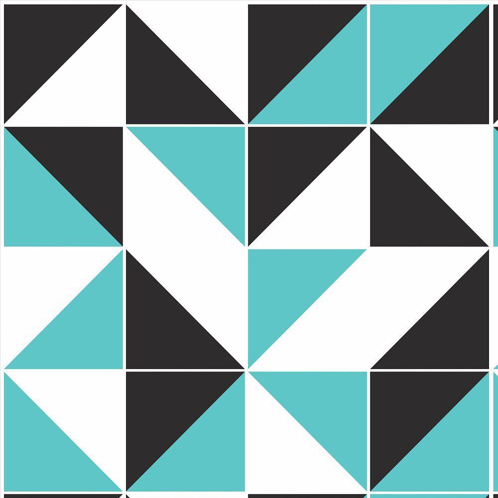 Papel de Parede Para Cozinha Geométrico Preto/Branco/Azul - Cole Aí