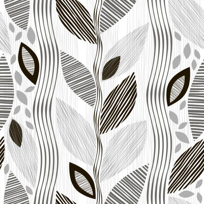 Papel de Parede Para Quarto Floral Preto e Branco - Cole Aí