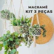 Kit com 3 peças MACRAME suporte decorativo para vasos e plantas feito com fio 100% algodão!