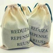 Kit com 3 Saco, Saquinho reutilizável de algodão cru medida 18x23cm para compra a granel, cereais e sementes