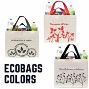 Sacola Ecobag Grande 100% Algodão COLORIDA para compras e mercado, alça de mão e alça de ombro.