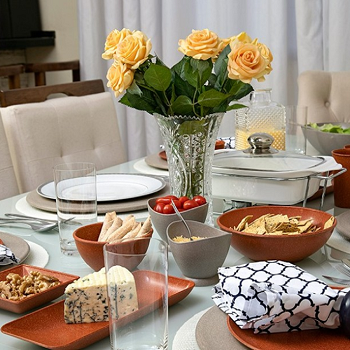 Bandeja Travessa retangular média de matéria-prima sustentável para casa e cozinha