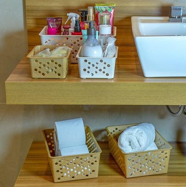 Cesto Organizador tamanho pequeno P de matéria-prima sustentável para arrumação e organização geral da casa