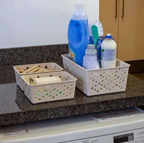 Kit com 2 Cesto Organizador pequeno P e grande G de plástico sustentável para arrumação e organização geral da casa