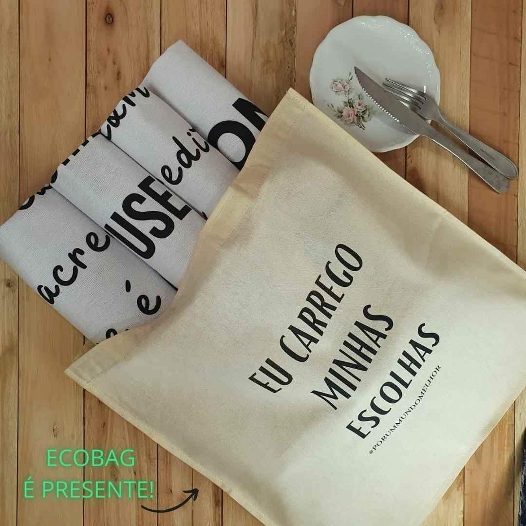 Conjunto com 4 panos de prato estampados 100% algodão + sacola de presente