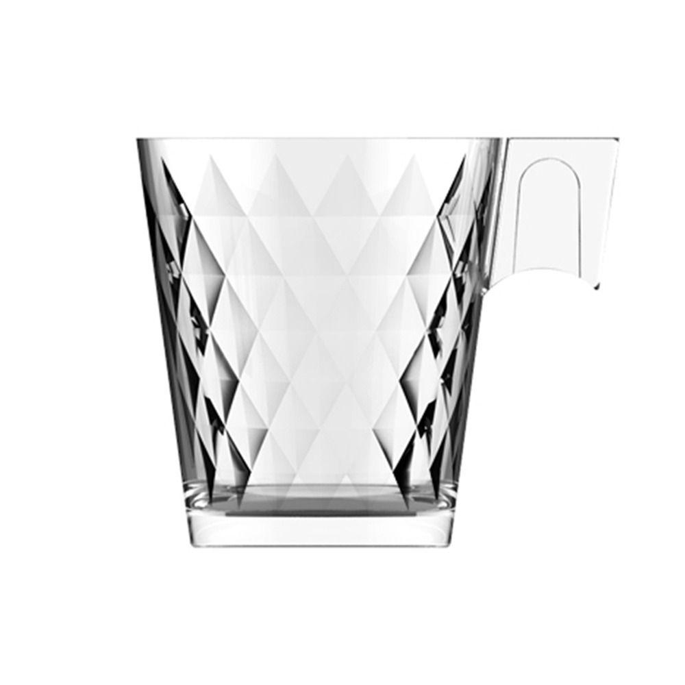 Jogo de 6 xícaras de café e chá vidro transparente trabalhado decorado 80ml