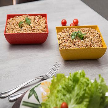 Jogo de utensílios de cozinha vermelho mogno de matéria-prima sustentável para casa com suporte