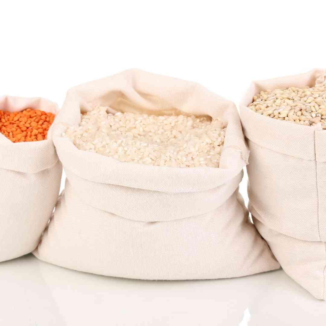 Kit com 9 sacos de algodão cru liso P M G para compras a granel, cereais, grãos