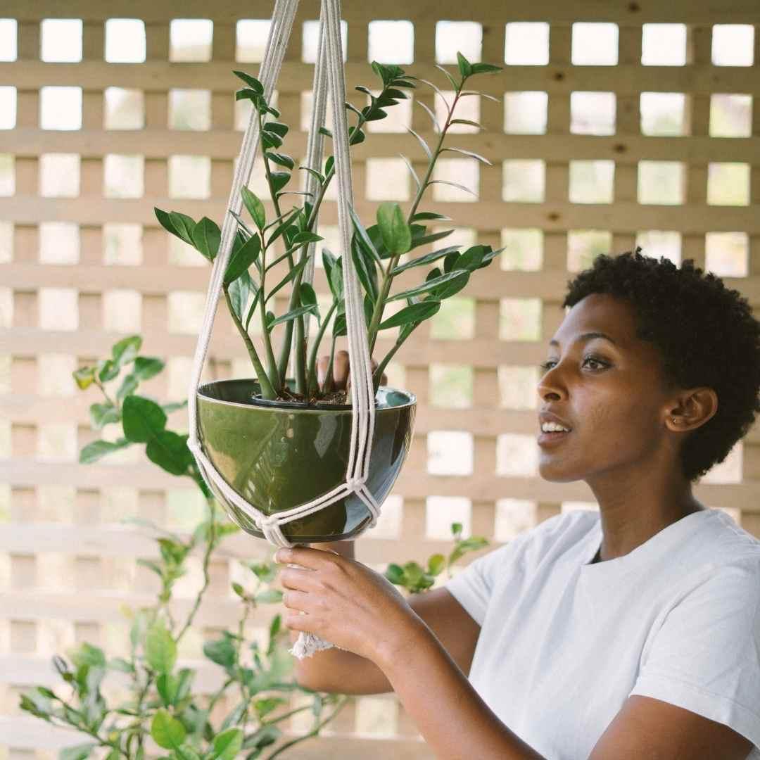 MACRAME decorativo suporte para plantas confeccionado com fio 100% algodão cru de 5mm