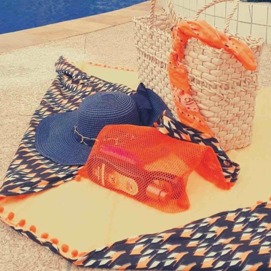NOVIDADE Canga de praia  tecido FARM - banco de tecidos  - 2 em 1 atoalhada 1,00m x 1,30m