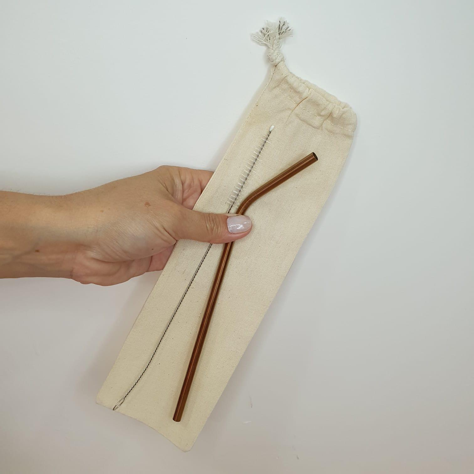 Porta Canudo e talheres 100% algodão cru liso com cordão - Leve seu canudo e seu talher com você!