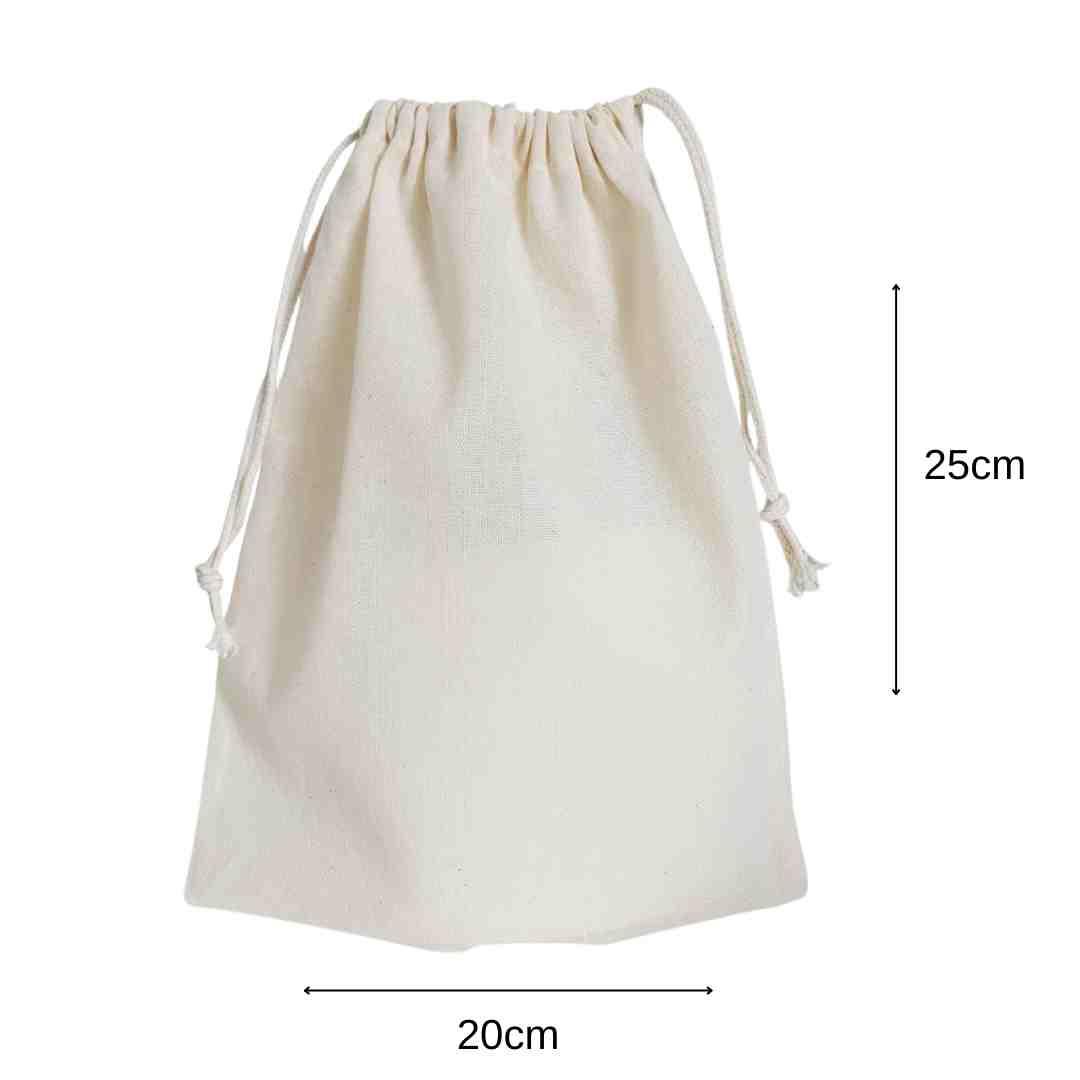 20x25 cm - médio - Saco liso de algodão cru reutilizável com cordão cru para compras cereais