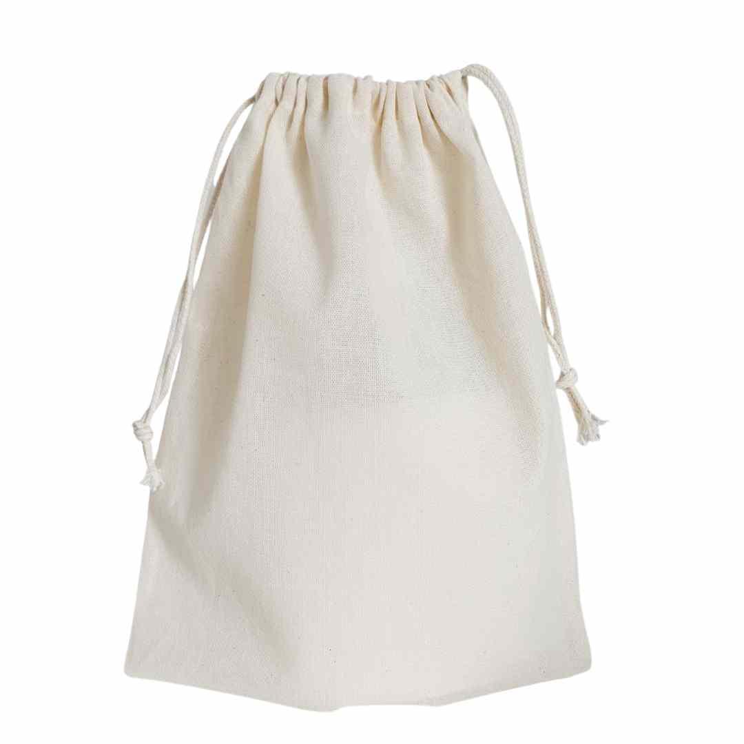 25x30 cm - grande - Saco liso de algodão cru reutilizável com cordão cru para comprar por kilo