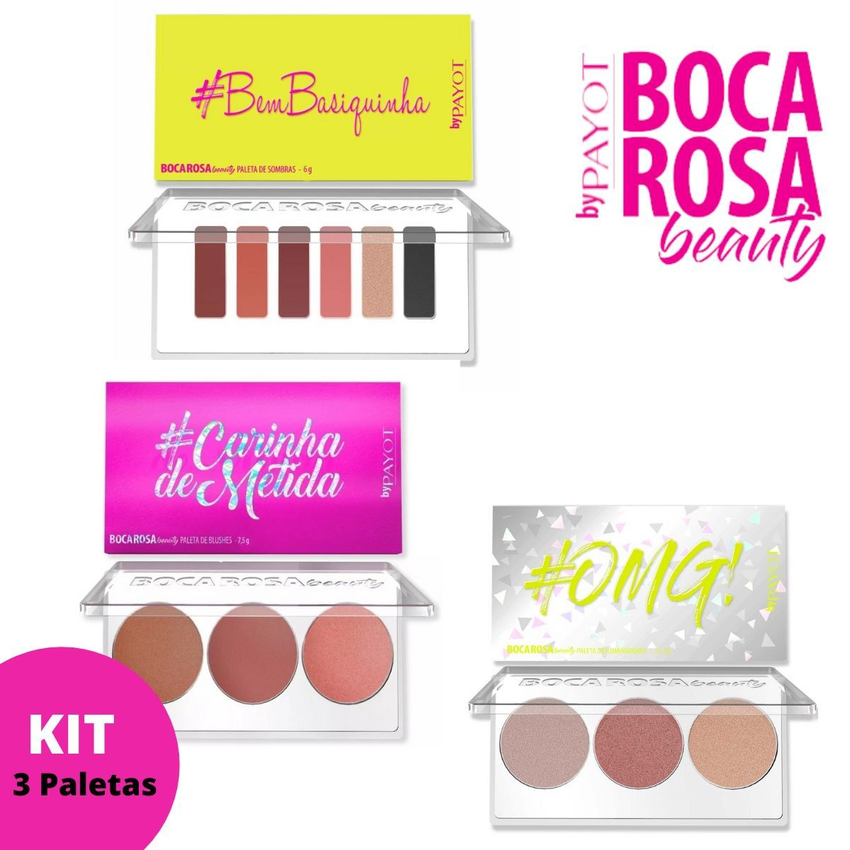 Kit 3 Paletas Boca Rosa ( #BemBasiquinha + OMG + Carinha de Metida)