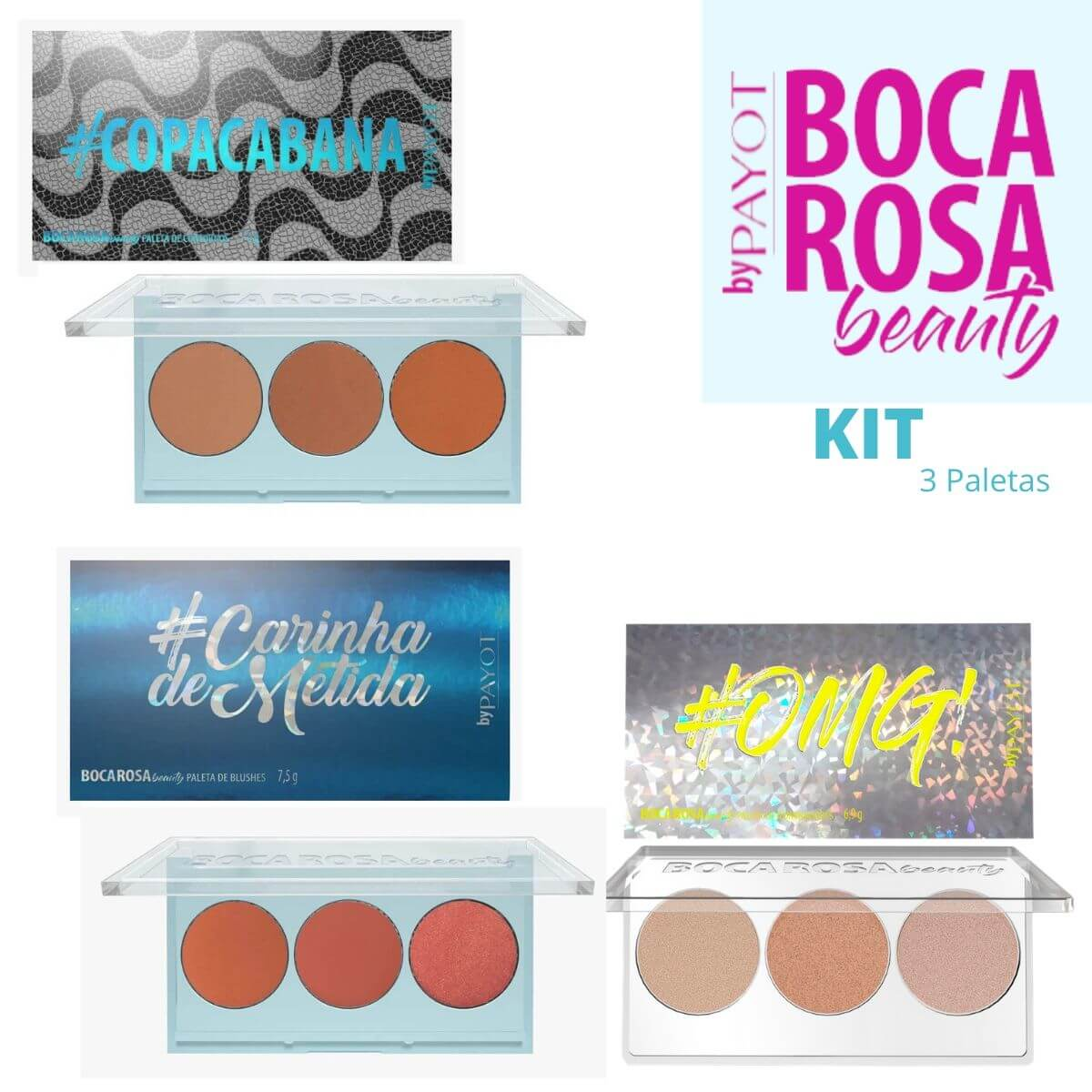 Kit 3 Paletas - Boca Rosa - Contorno, Blush, Iluminador
