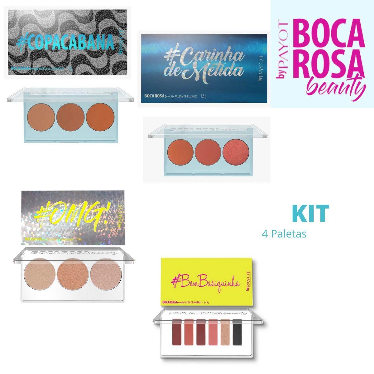 Kit 4 Paletas Boca Rosa ( Contorno, Blush, Iluminador, Sombras)