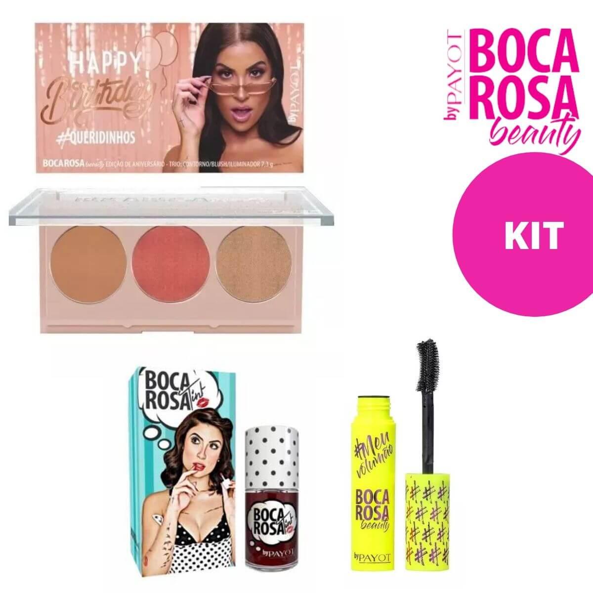 Kit Paleta #QUERIDINHOS + Lip Tint + Máscara Cílios #MeuVolumão - Boca Rosa