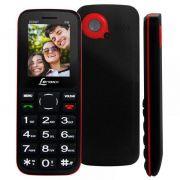 Celular Dual Chip Preto E Vermelho Para Idoso Cx905 + cartão de memória de 2GB