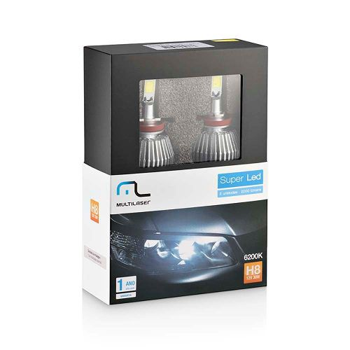 - Lâmpada Automotiva Super Led H8 12v 30w 6200k Au827
