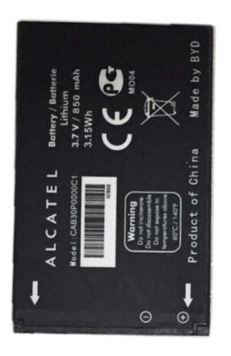 Bateria Alcatel One Touch (mf100p) 3.7 V 850 Mah - Cab30p000