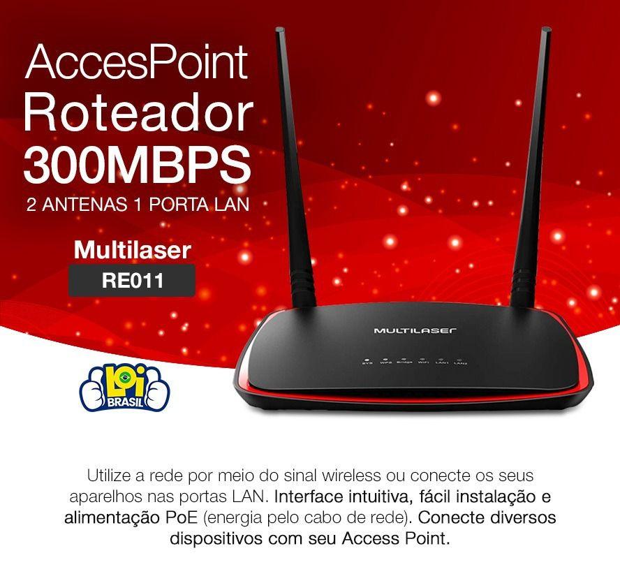 Access Point Roteador 300mbps Ponto De Acesso 2 Antenas Re011