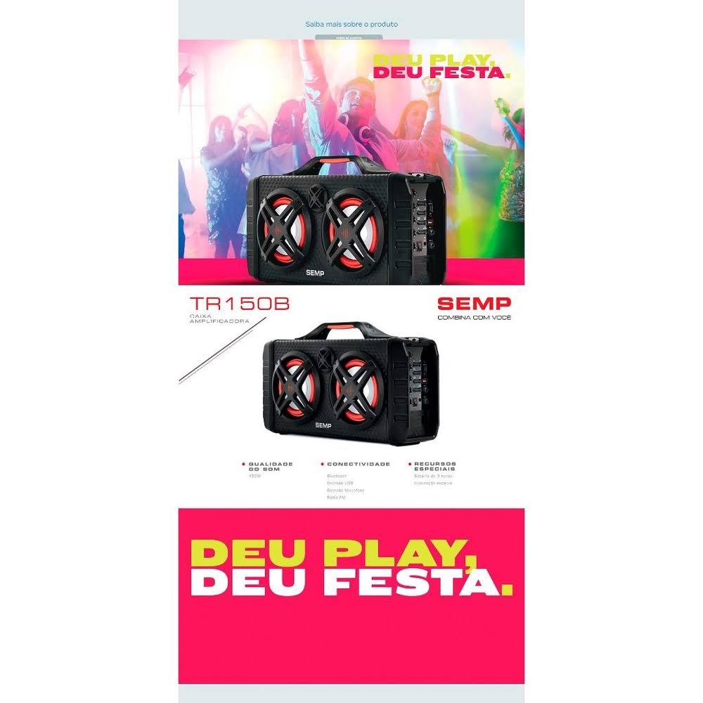 Caixa de Som Bluetooth Semp TR150B Portátil - Amplificada 150W USB