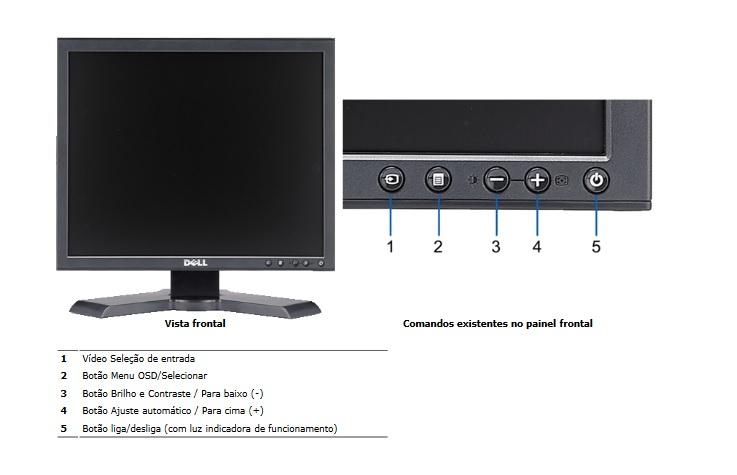 Monitor DELL 1908FP UltraSharp  de 19 polegadas 1280 x 1024 com suporte ajustável em altura