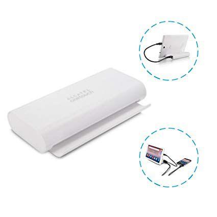 Powerbank Carregador Portátil C/ Base Suporte P/celular Alcatel Onetouch Pb80 10.400mah Branco C/ 2 Saidas USB
