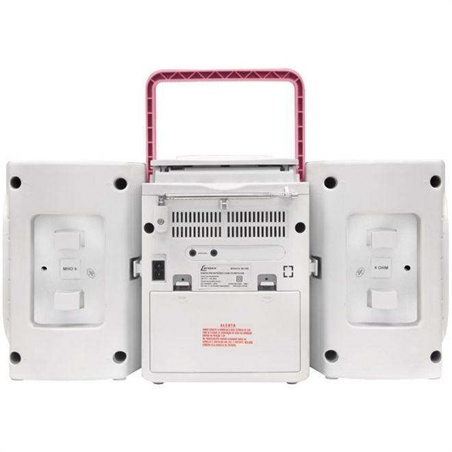 Rádio Micro System Portátil Lenoxx Cd Mp3 Entrada Usb Mc265 branco e rosa