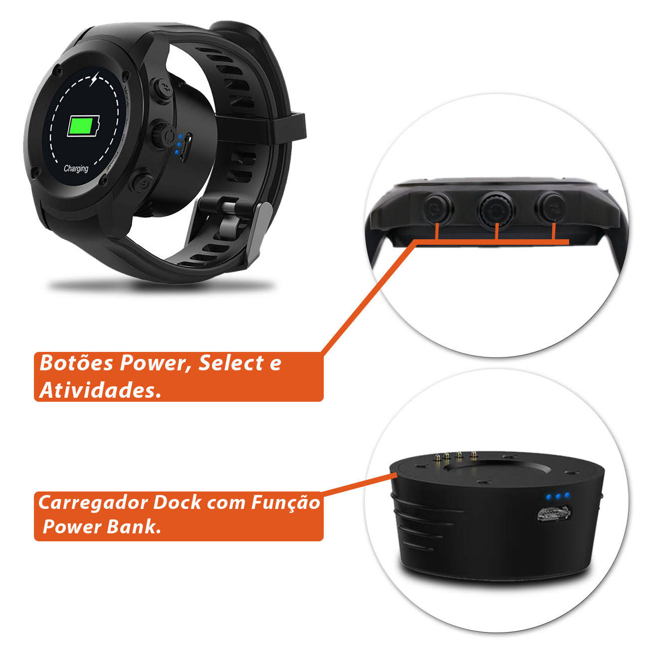 Relógio Smartwatch Bluetooth Multilaser Sw2 Plus P9080 Gps