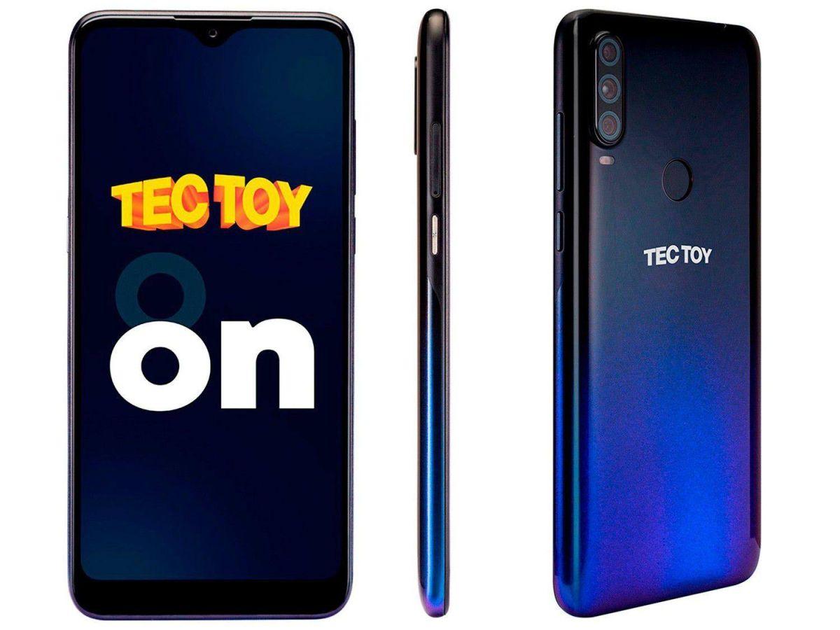 Smartphone Tectoy Android 10 Octa-Core 128GB 4GB Ram Câmera Tripla 48MP + 5MP + 2MP, Face ID, Leitor Digital e Fone de Ouvido Bluetooth