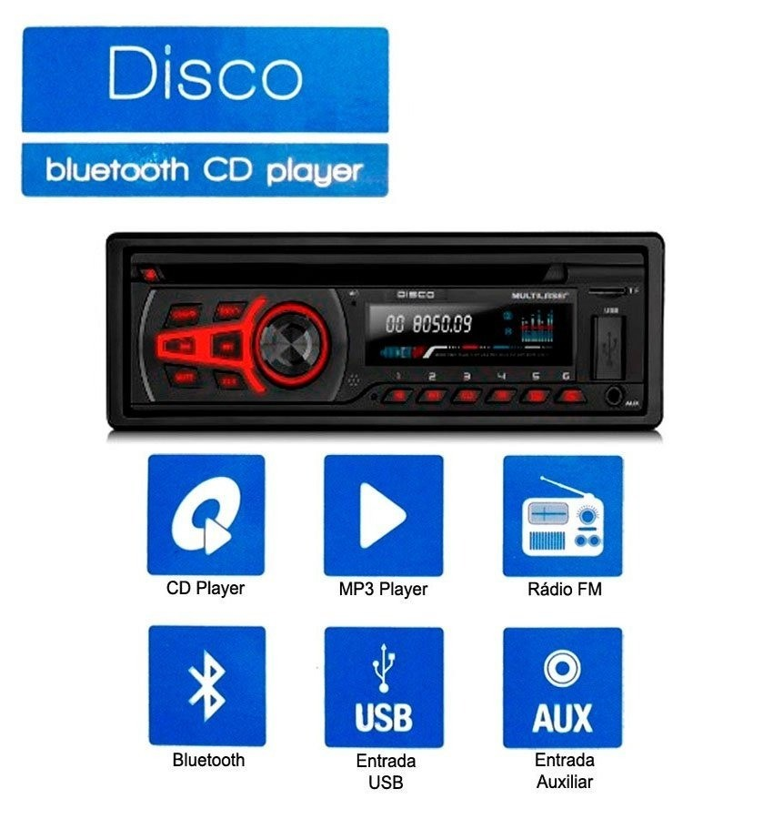 - Som Automotivo Multilaser Disco Cd-bluetooth-usb-aux P3322