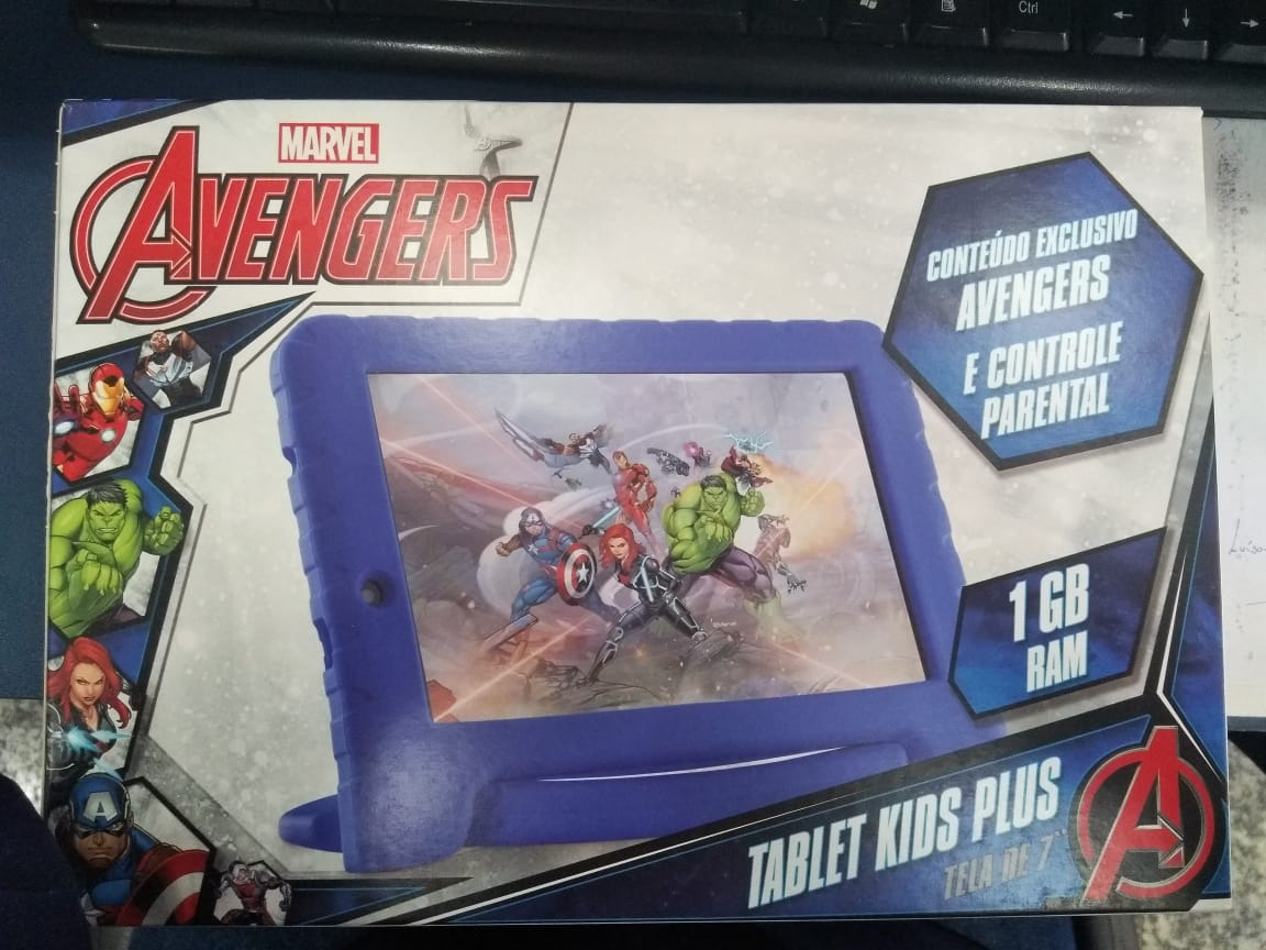 "Tablet Multilaser Disney Vingadores Nb280 Plus Wi-Fi 8Gb Android 7.0 Tela 7"" Câmera 2Mp Frontal 1.3Mp Azul"