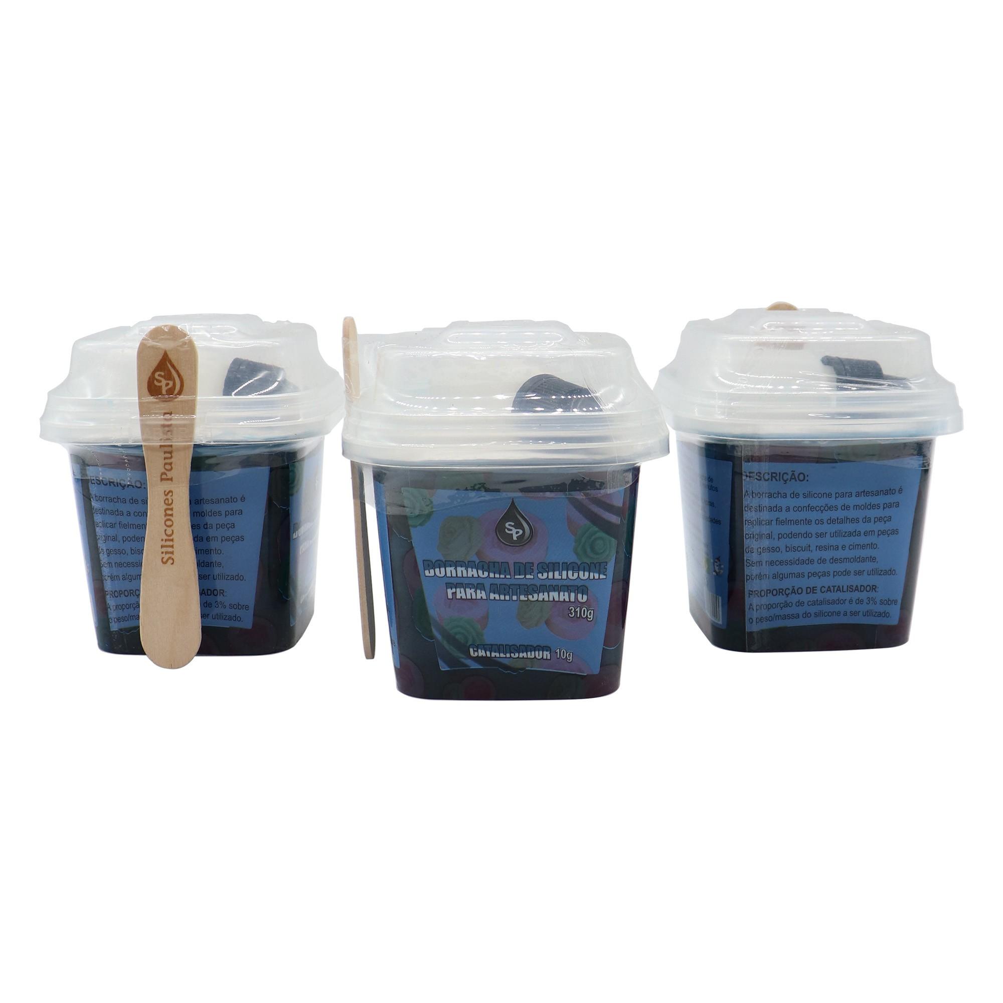 Borracha de Silicone para artesanato COR BRANCA ( 310g borracha / 10g catalizador)