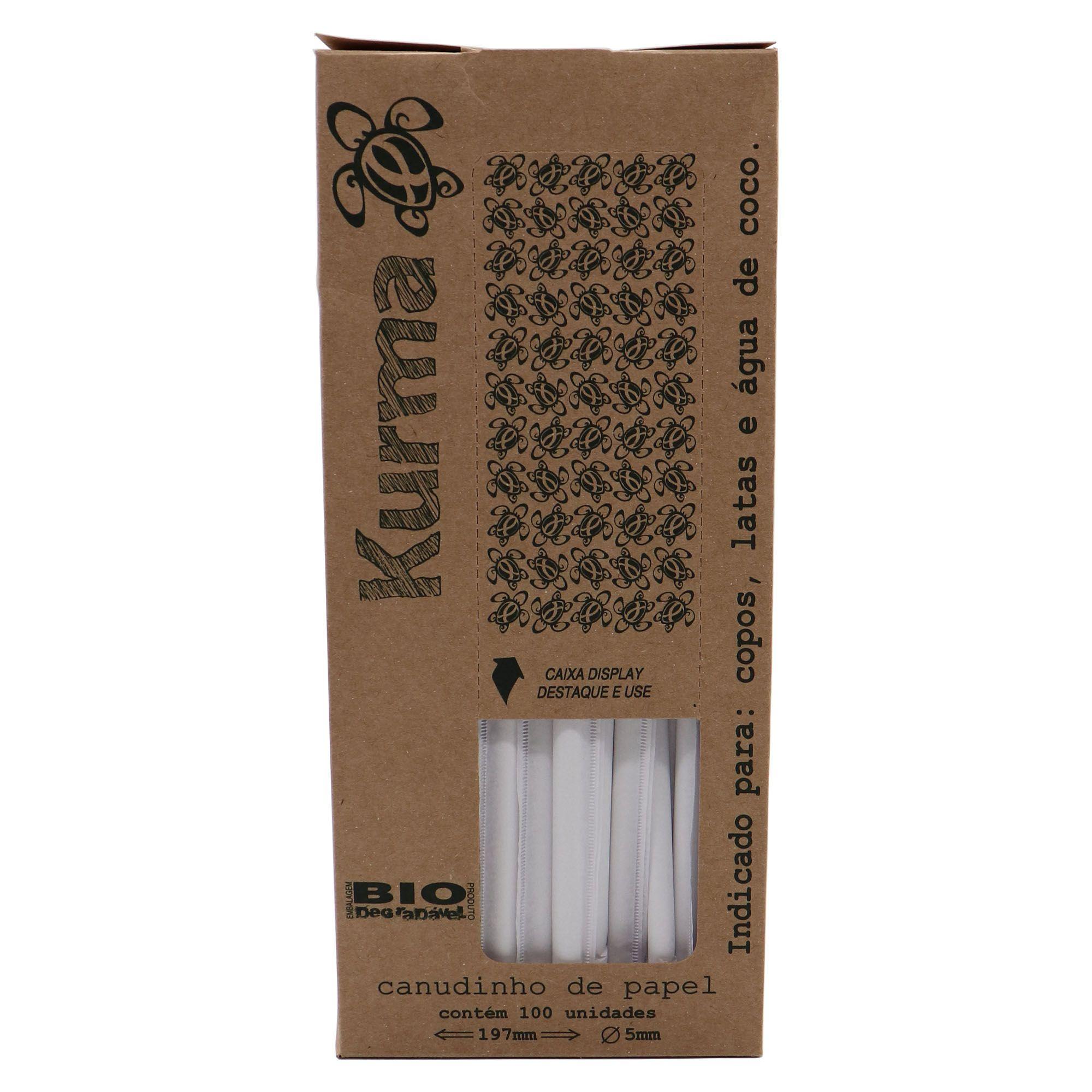 Canudo Biodegradável de Papel com 100 uni.