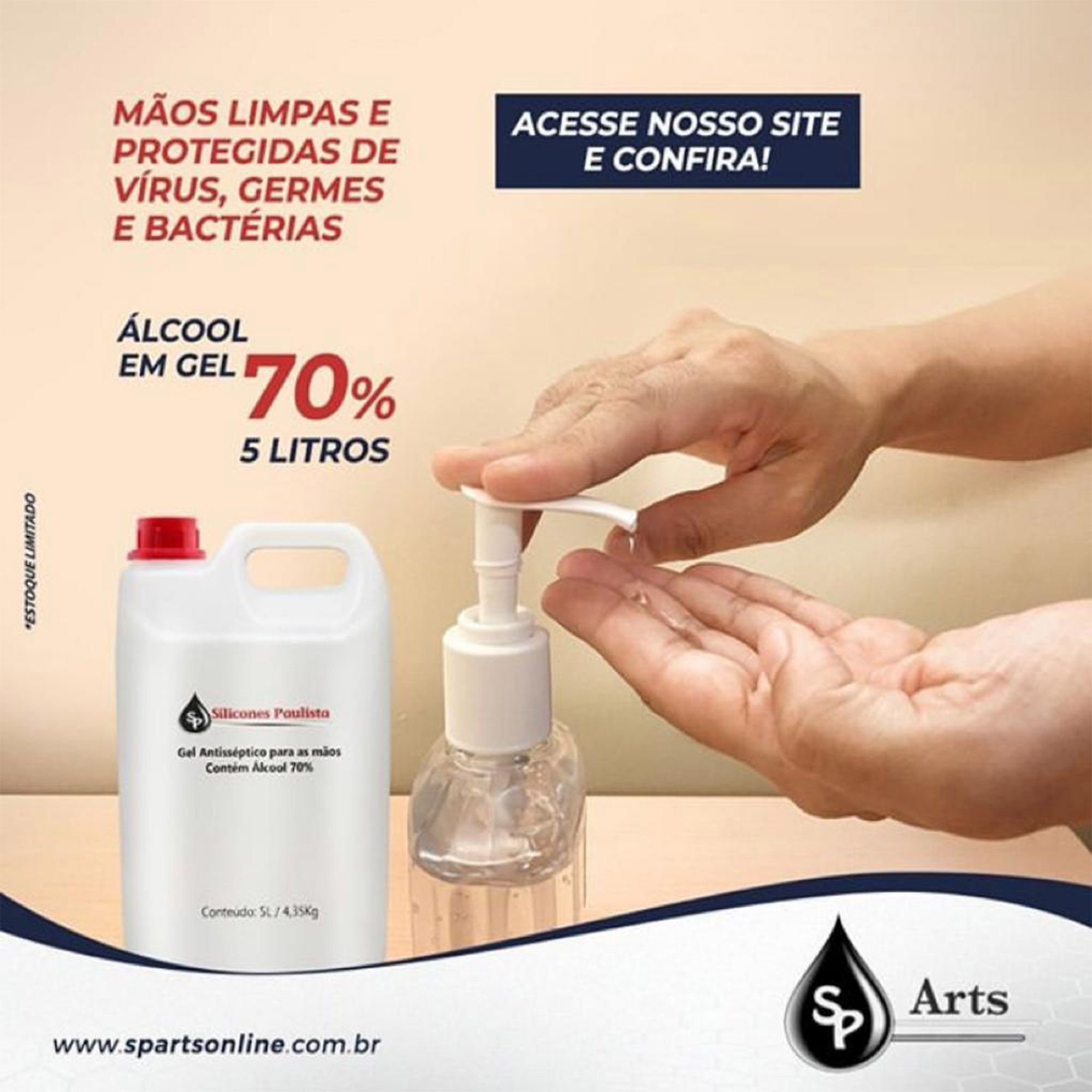 Gel antisséptico para as mãos 70% - 5L