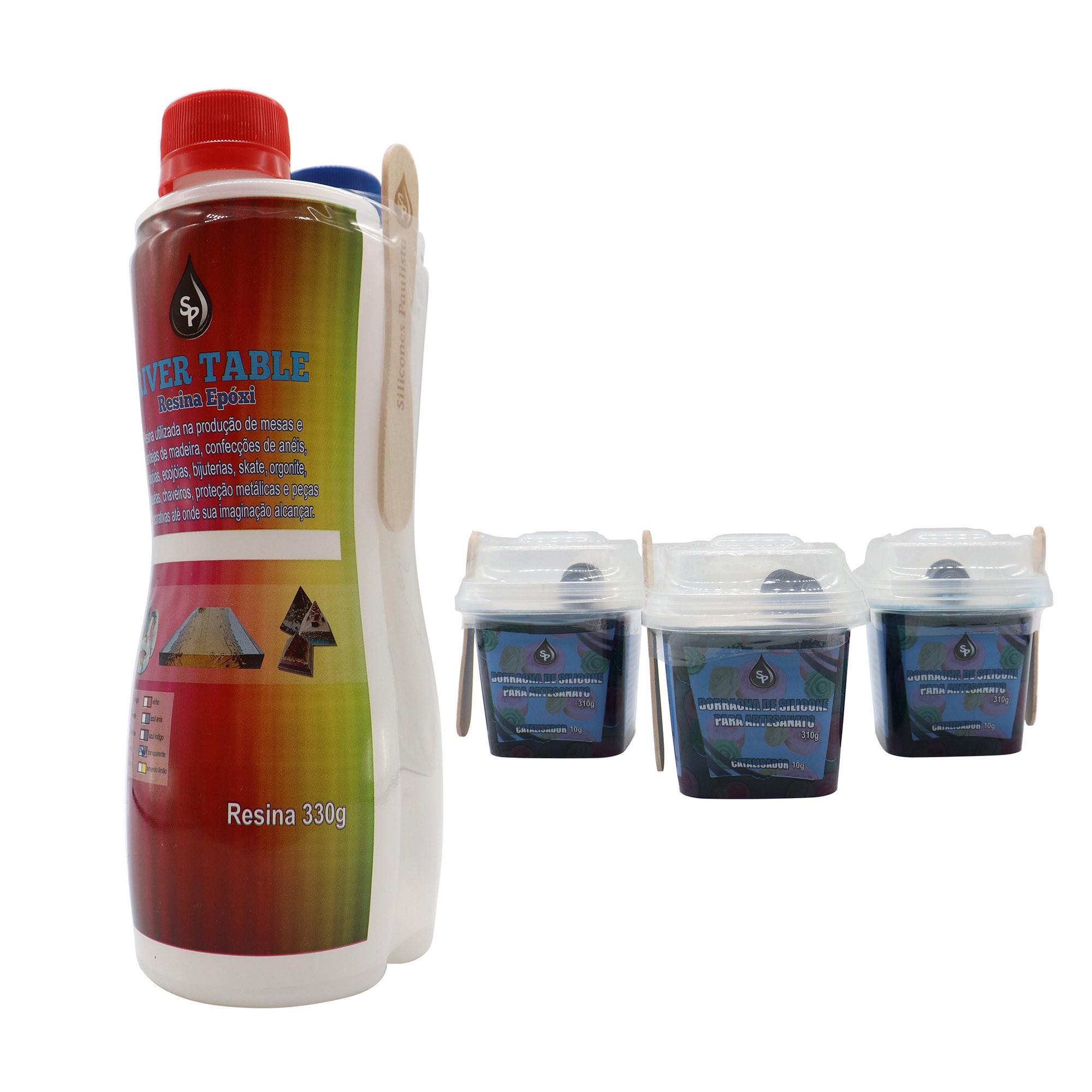 Kit Resina Epóxi BE 495g + 3 Borrachas de silicone azul 310g/10g