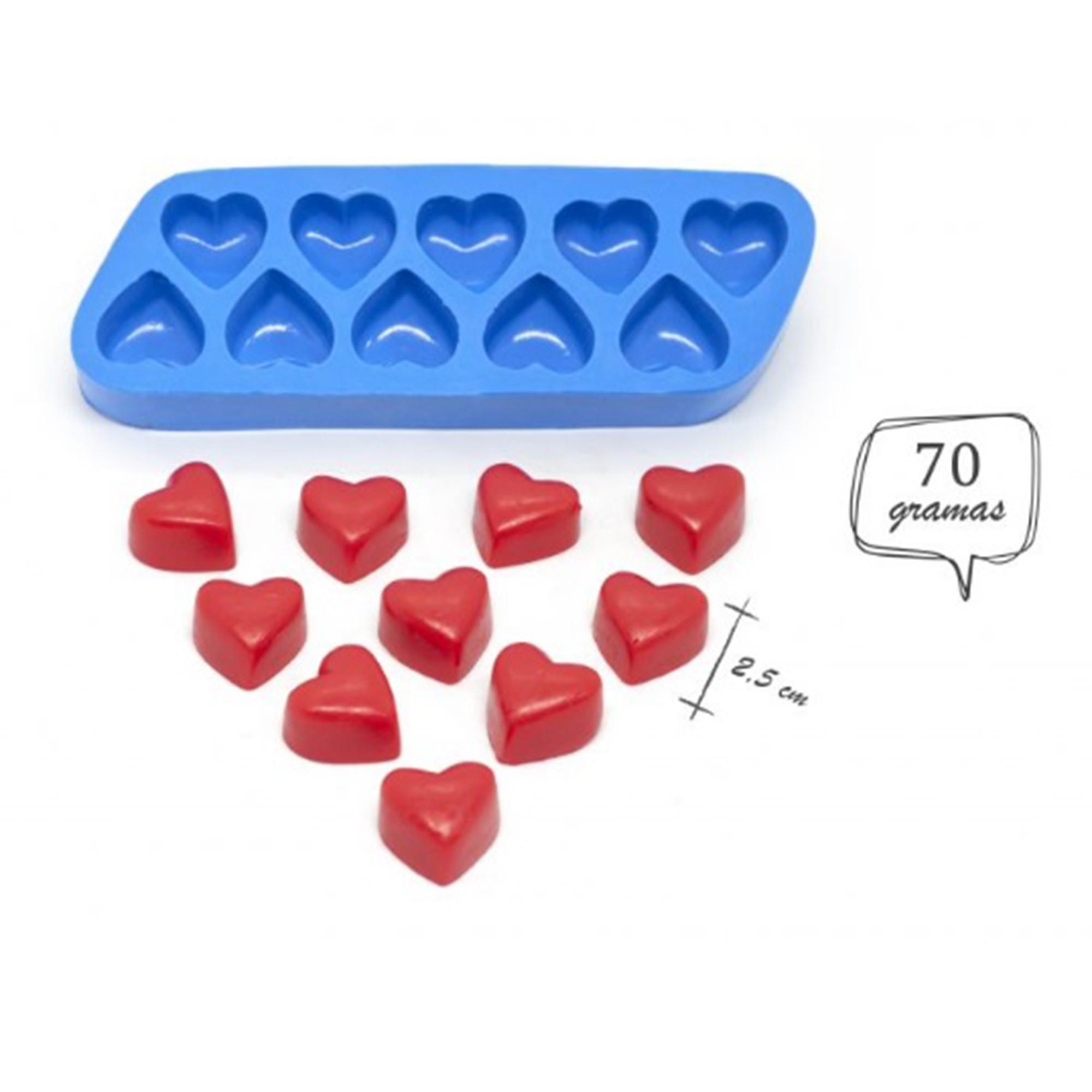 Molde de silicone de coração 10 cavidades