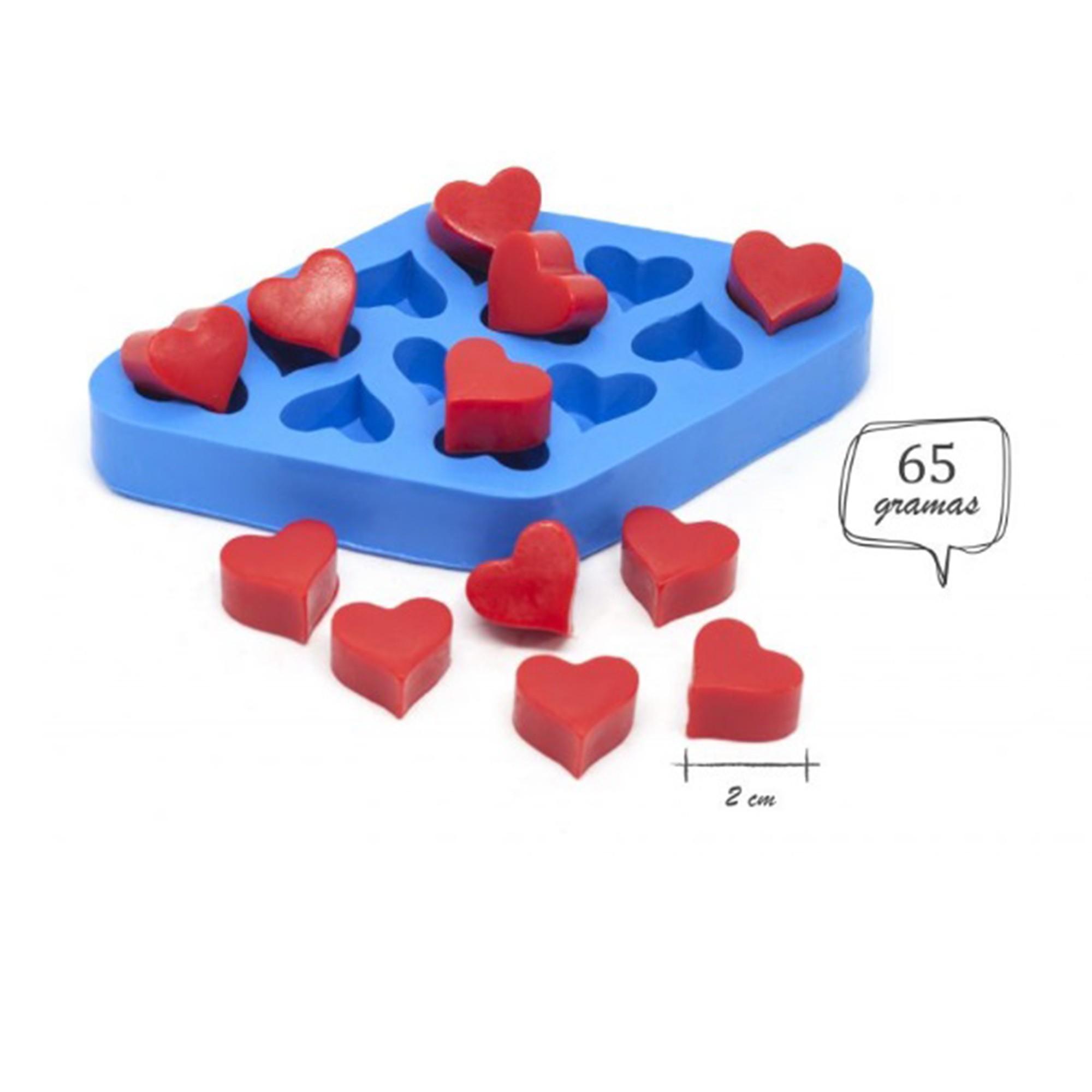 Molde de silicone de coração 12 cavidades