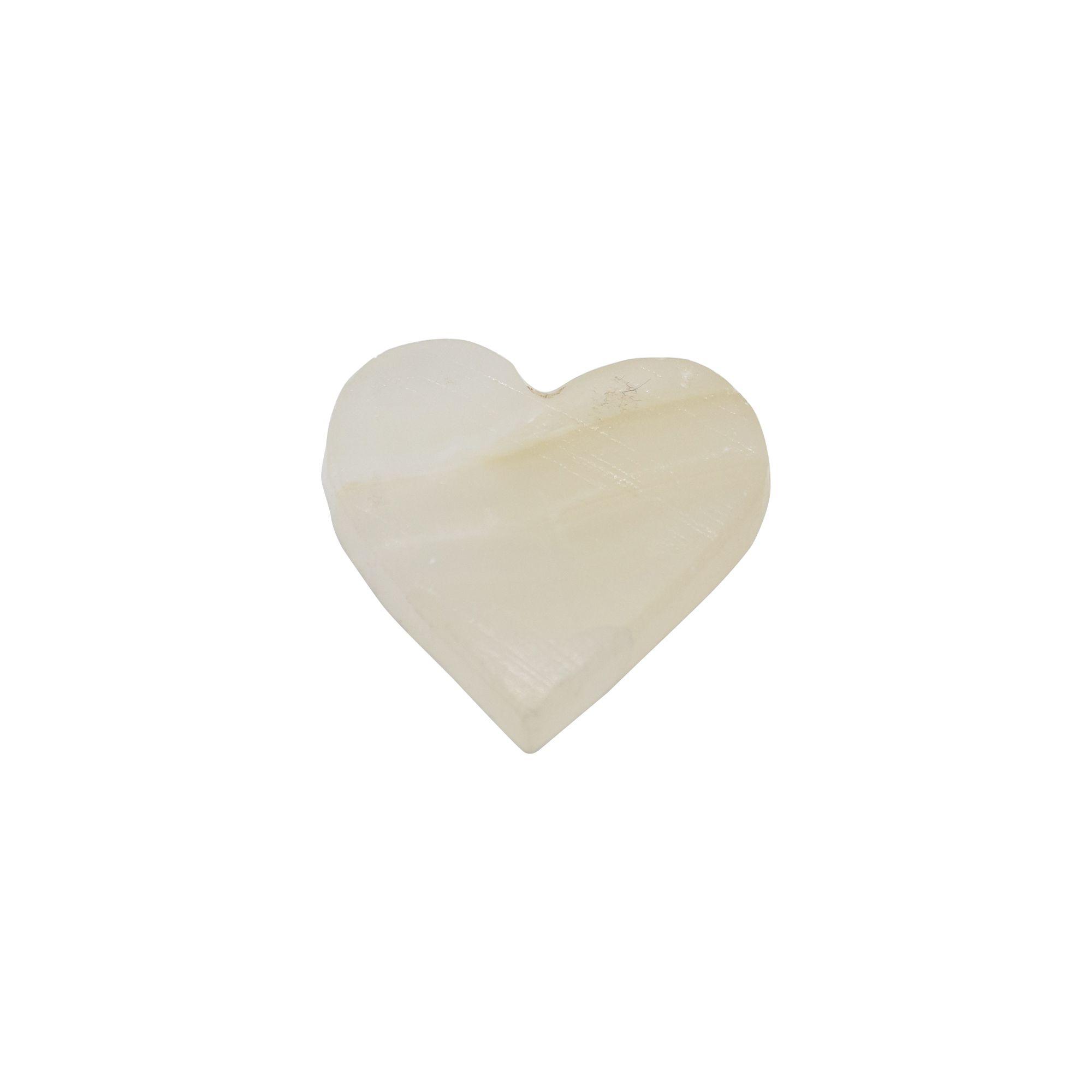 Pedra Quartzo branca em forma de coração 12g - semi lapidada