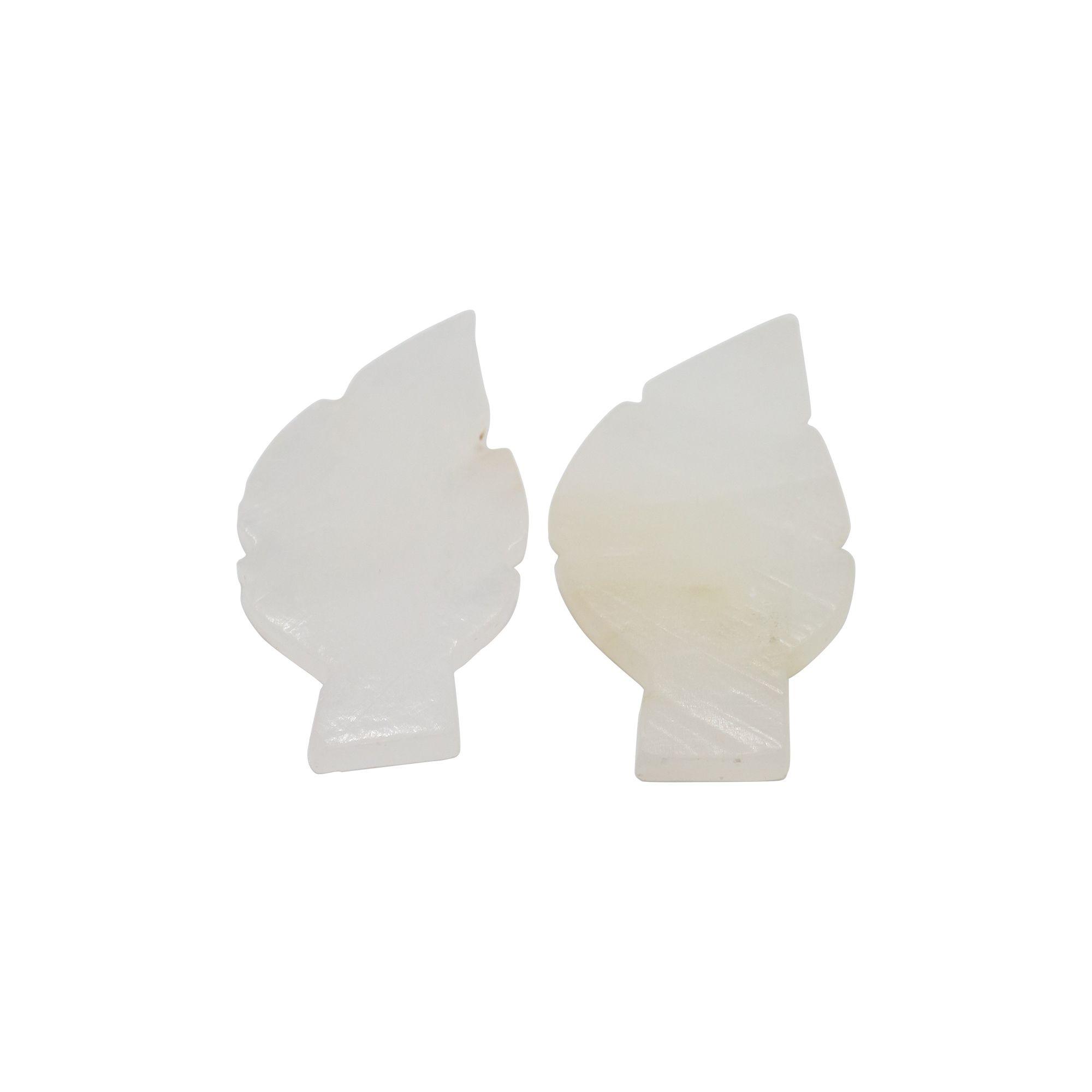 Pedra Quartzo branca em forma de folha 10g - semi lapidada