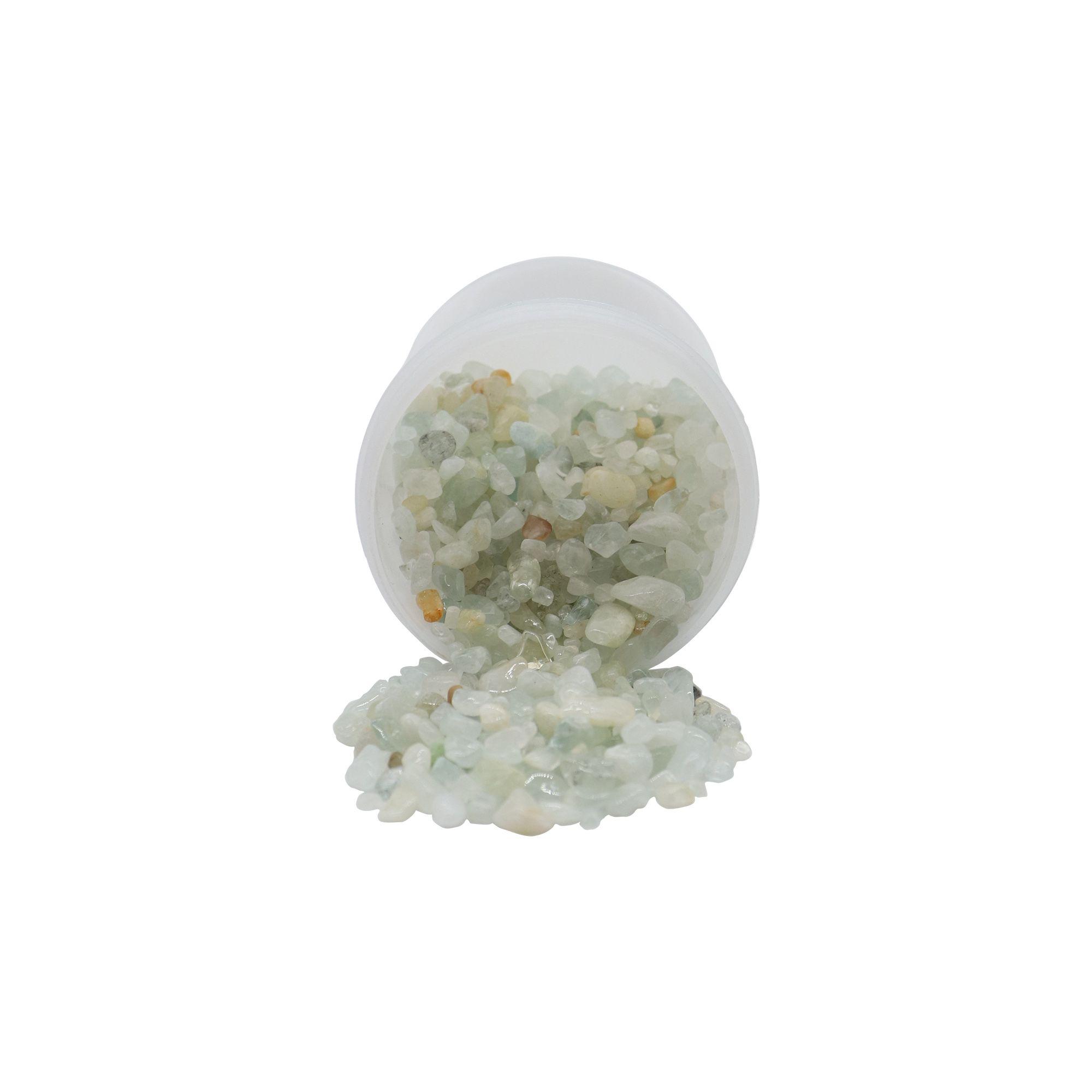 Pote de cristais quartzo verde claro 70g