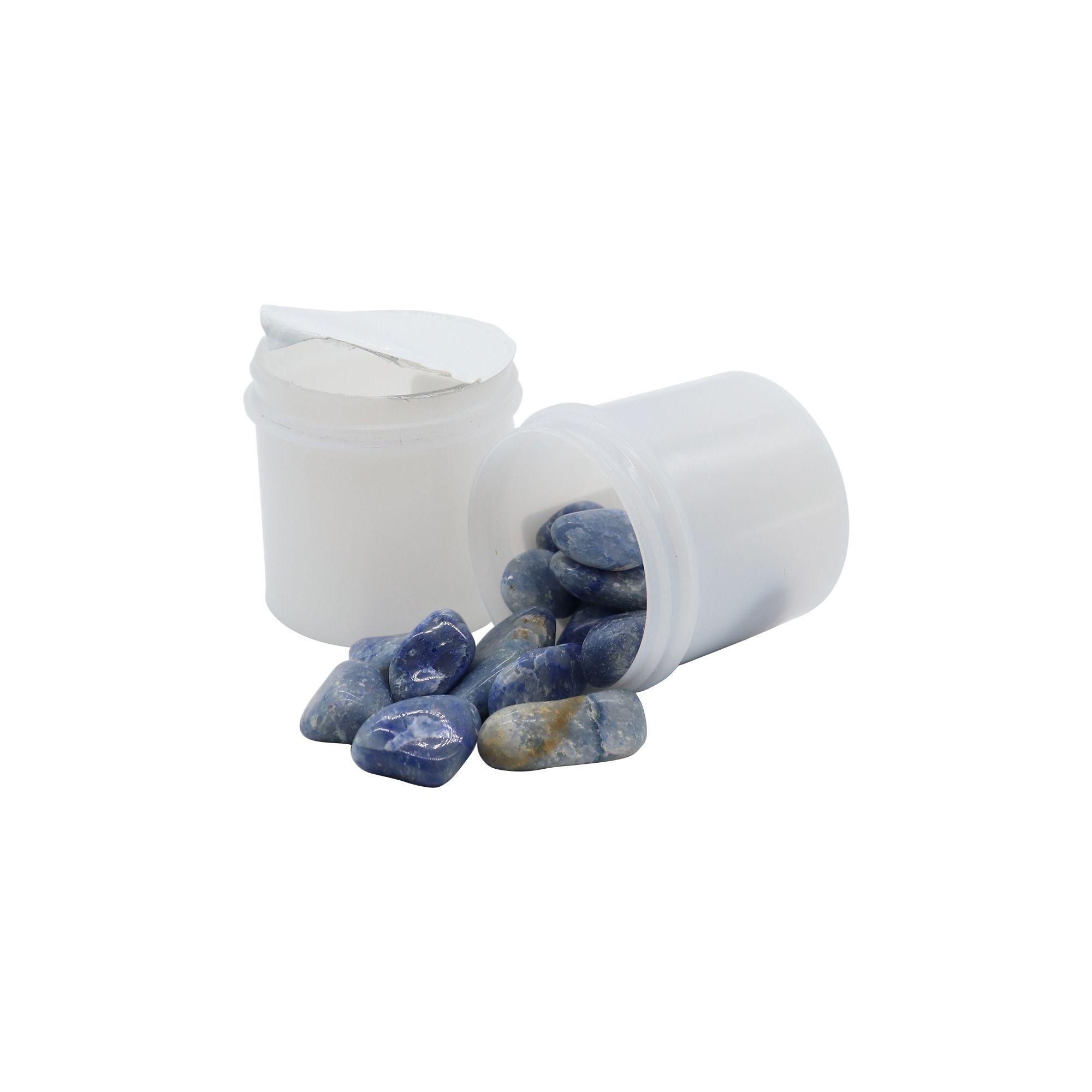 Pote de pedras quartzo azul maior 70g