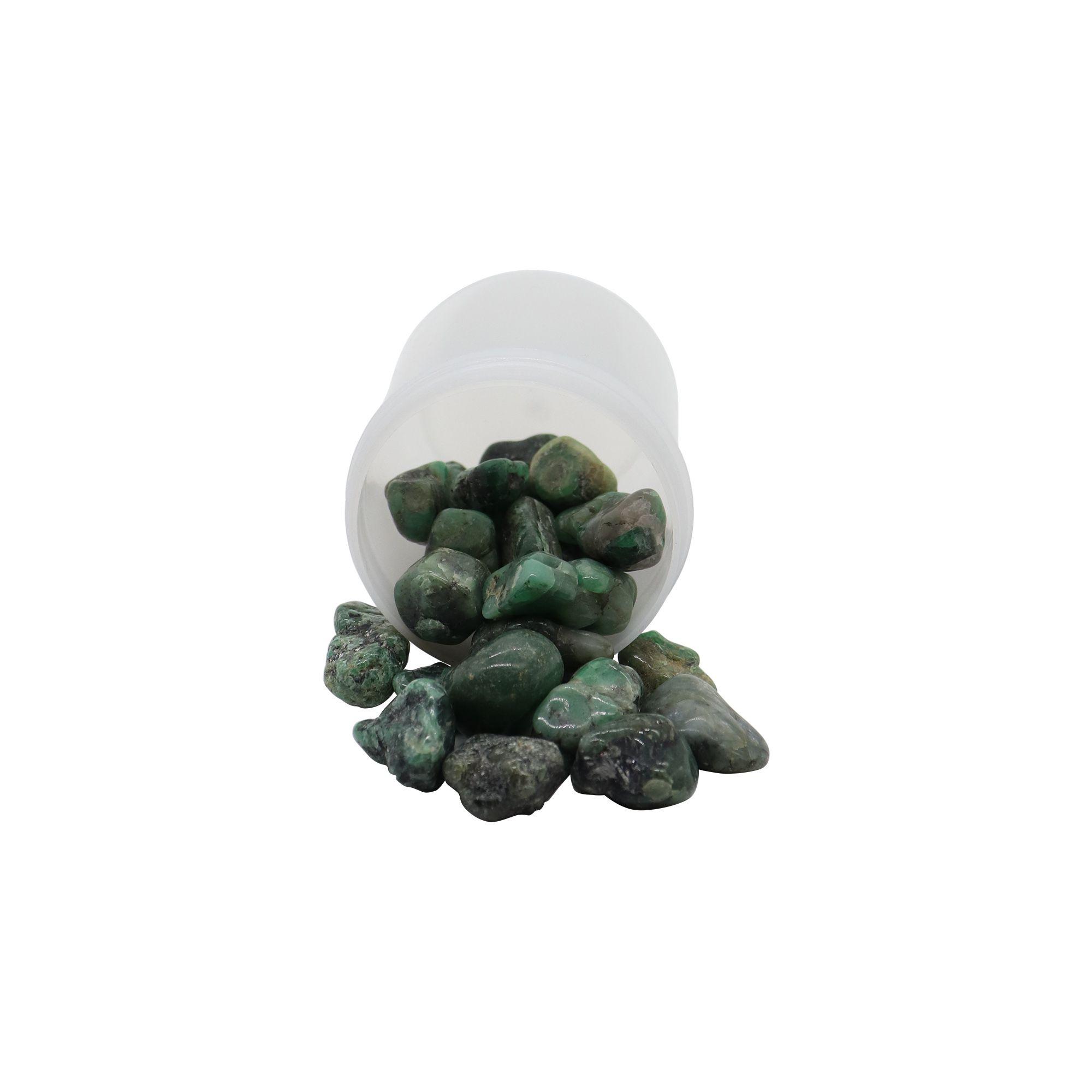Pote de pedras quartzo verde maior 70g