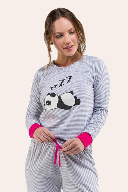 010/H - Pijama Adulto Feminino Panda Longo