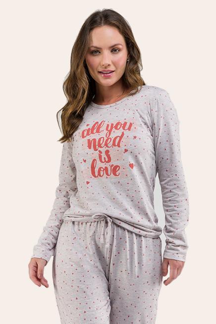 012/H - Pijama Adulto Feminino  All You Need Is Love