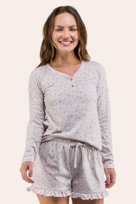012/I - Pijama Adulto Feminino Corações Com Shorts