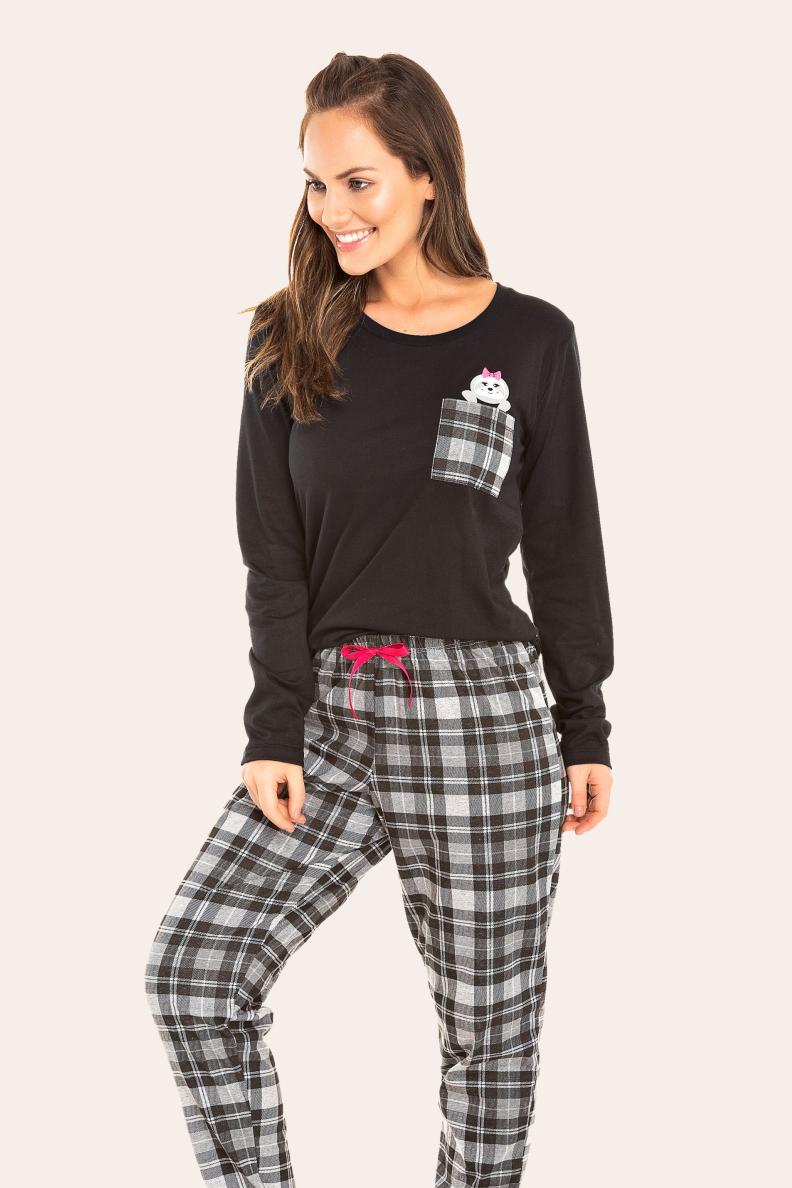 000/A - Pijama  Adulto Feminino Xadrez Preto