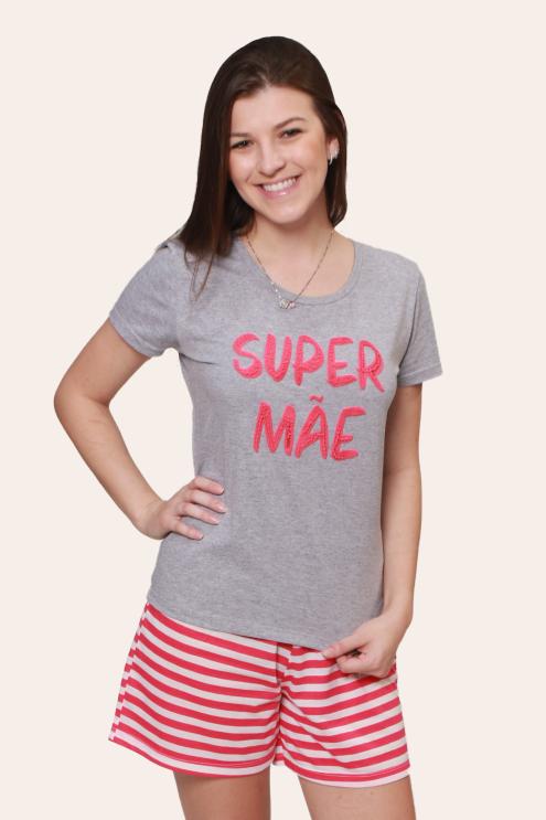 001/B - Pijama Adulto Feminino Super Mãe