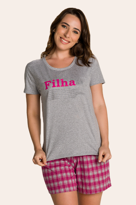 002/B - Pijama Adulto Feminino Xadrez Família Completa Estampa Filha
